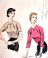 1950s LOVELY Keyhole Neckline Blouse Pattern VOGUE 8095 Tuck In Blouse with Diagonal Darts Bust 32 Vintage Sewing Pattern