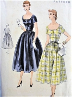 1950s EASY To Make Dress Pattern VOGUE 8157 Pretty Day or After 5 Dinner Cocktail Dress Bust 34 Vintage Sewing Pattern FACTORY FOLDED