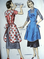 1950s CHARMING Full Bib Apron Pattern ADVANCE 8161 Over The Head Style Farmhouse Apron Very Pretty French Country Style Aprons Bust 42-44 Vintage Sewing Pattern