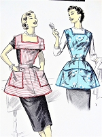 1950s PRETTY Apron Pattern ADVANCE 8163 Bib Top Slip On Aprons Wide Square Collar Bust 31-32  Vintage Sewing Pattern