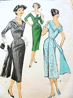 1950s DRAMATIC Sheath Dress Pattern ADVANCE 8202 Back Interest Lined Floating Panels, Deep V Neckline, Day or Chic Evening Party  Bust 36 Vintage Sewing Pattern