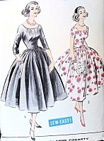 1950s ADVANCE American Designer 8415 Evening Dress Pattern ANNE FOGARTY Cocktail Party Dress Full Skirted Wide Scoop Neckline Easy To Sew Bust 34 Vintage Sewing Pattern