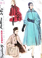 1950s ELEGANT Swing Back Coat or Jackets Pattern SIMPLICITY 8427 Beautiful Sleeve Style, Three Lengths Coat Bust 30 Vintage Sewing Pattern