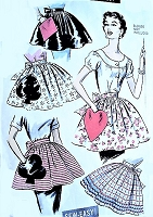 1950s CUTE Apron Pattern ADVANCE 8463 Pretty Hostess Aprons with Playing Card Novelty Pockets, One Size Sew Easy Vintage Sewing Pattern