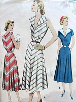 1950s STRIKING Summer Dress Pattern MCCALL 8484 Flattering Wide Collar, Flared Bias Cut Skirt, Bust 34 Vintage Sewing Pattern