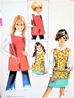 1960s CUTE Cobbler Apron Pattern SIMPLICITY 8563 Cobbler Craft Cooking or Gardening Aprons Includes Applique Transfer Size Small Vintage Sewing Pattern
