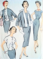 1950s EDITH HEAD Sheath, Jacket and Weskit Overblouse Pattern ADVANCE American Designer 8591 Boxy Jacket With Detachable Scarf Day or After 5 Bust 34 Vintage Sewing Pattern FACTORY FOLDED