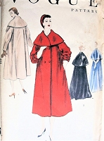 1950s STUNNING Coat Pattern VOGUE 8703 Day or Evening Length, Two Versions of Deep Cape Like Collars, Bust 32 Vintage Sewing Pattern FACTORY FOLDED