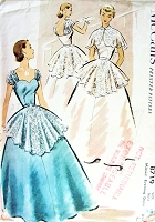 1950s ROMANTIC Evening Gown Dress or Wedding Gown Pattern McCALLS 8719 Flattering SWEETHEART Neckline,Draped Shoulders Straps, Lace Over Skirt, Lace Cape  Bust 36 Vintage Sewing Pattern