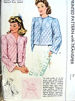 1940s GLAM Film Noir Style QUILTED Bed Jacket Robe Lingerie Pattern McCALL 883 Includes QUILTING TRANSFER Size Medium Vintage Sewing Pattern