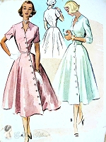 1950s BEAUTIFUL Asymmetrical Closing Dress Pattern McCALLS 8898 Striking Notched Neckline Figure Flattering Style Bust 34 Vintage Sewing Pattern