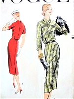 1950s SLIM Button Back Dress Pattern VOGUE 8960 Easy Chic Bust 34 Vintage Sewing Pattern
