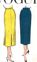 1950s CLASSY Slim Skirt Pattern VOGUE 9111 Pencil Slim Waist 28 Vintage Sewing Pattern