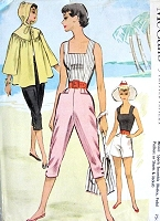 1950s FAB Beachwear Pattern McCALLS 9229 Sports Ensemble, Bodice Top, High Waist Shorts, Capri Pants, Hooded Beach Jacket Bust 32 Vintage Sewing Pattern