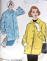 1950s CASUAL Coat Jacket Pattern VOGUE 9239 Car Coat Length, Nice Design Details Bust 36 Vintage Sewing Pattern