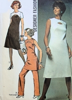1970s FABULOUS Dress,Tunic and Pants Pattern SIMPLICITY 9253 Peekaboo Cutout,Figure Flattering Design, Bust 38 Vintage Sewing Pattern
