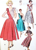 RARE 1950s Cut In Two Half Half Dress Promotional Pattern McCALLS 9393A Two Separate Halves,Two Pattern Pcs, Bombshell Marilyn Style Casual or Evening Quick N Easy Vintage Sewing Pattern Bust 30
