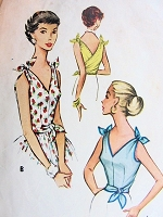 1950s PERKY Tie On Bodice Blouse Pattern McCALLS 9449 Only One Pattern Piece Super Easy To Sew Bust 34 Vintage Sewing Pattern