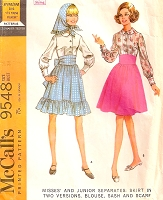 60s Separates Pattern High Waist Skirt 2 Versions, Peter Pan Collar Blouse,Sash and Scarf McCalls 9548 Vintage Sewing Pattern UNCUT