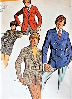 1970s DAPPER Gents Set of Fitted Jackets Pattern SIMPLICITY 9598 Single or Double Breasted Jacket chest 44 Mens Vintage Sewing Pattern