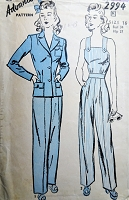 FAB 1940s WW II Ladies Pants, Fitted Jacket and Coveralls Jumper Slacks Pattern ADVANCE 2994 ROSIE RIVETER Style Coveralls  Katharine Hepburn Trousers  Bust 34 Vintage Sewing Pattern