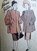 BEAUTIFUL 1940s Coat Jacket Pattern ADVANCE 4366 Two Sleeve Versions Bust 36 Vintage Sewing Pattern