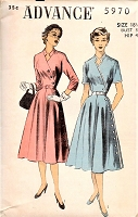 1950s FAB Day or Cocktail Dinner Dress Pattern ADVANCE 5970 Notched Key Hole Neckline, Diagonal Side Button Bust  38 Vintage Sewing Pattern