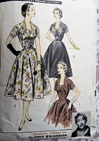 1950s GLORIA SWANSON Day or Party Dress Pattern ADVANCE 8211 Three Lovely Designs Created By Actress Gloria Swanson Bust 37 Vintage Sewing Pattern