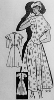 1940s Vintage LOVELY Dress with Flared Shoulders Anne Adams Pattern 9191 Vintage Sewing Pattern