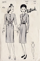 1940s FAB Tailored Dress Pattern BUTTERICK 2271 Lovely Peg Top Dress Two Versions Bust 32 Vintage Sewing Pattern