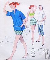 50s BeachWear Sports Rockabilly Pattern Butterick 7391 Capri Pants Pin Up High Waist Shorts Bra Top B 34 Vintage Sewing Pattern FACTORY FOLDED