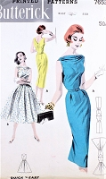 1950s SOPHISTICATED Slim or Full Skirt Dress Pattern BUTTERICK 7653 Lovely Draped Bateau Neckline,Day or Party Dress Bust 32 Quick n Easy Vintage Sewing Pattern