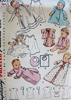 1950s Vintage INFANTS LAYETTE Simplicity 4507 Sewing Pattern