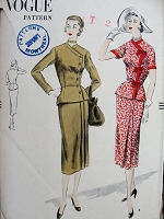 1950s STYLISH Slim 2 Pc Dress Pattern VOGUE 7328 Peplum Blouse Side Closing, Slim Skirt Two Pleats at Left  Front Day or Dinner Dress Bust  32 Vintage Sewing Pattern