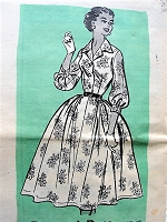 1950s BEAUTIFUL Shirtdress Pattern ANNE ADAMS 4614 Dreamy Full Skirt Dress Perfect For Sheer Fabrics Bust 36 Vintage Sewing Pattern