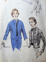 1950s CLASSY Jacket Pattern VOGUE 8188 Easy To Sew Jacket Casual or After 5 Bust 30 Vintage Sewing Pattern