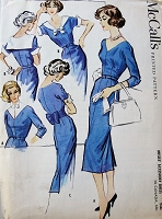 1950s STYLISH Accessory Dress Pattern McCALLS 4397 Lovely Slim Dress V Neckline Day or Evening Bust 32 Vintage Sewing Pattern FACTORY FOLDED