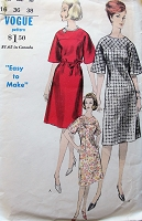 1960s CLASSY Easy to Sew Dress Pattern VOGUE 5930 Fitted Dress Flared Sleeves Easy Day to After 5 Dress Bust 36 Vintage Sewing Pattern