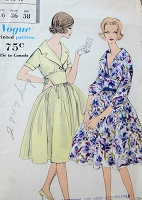 1950s LOVELY Midriff Dress Day or Cocktail Dress Pattern VOGUE 9696 Full Circle Skirt Flattering V Neckline Bust 36 Vintage Sewing Pattern