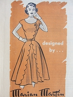 Vintage 1950s STYLISH Dress with Scalloped Edges Marian Martin 9018 Bust 35 Sewing Pattern