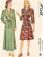 1940s CLASSIC WW II Era Side Wrap Housecoat Robe Brunch Coat McCALL 4899 Lovely Wide Lapels,Easy To Make Bust 34 Vintage Sewing Pattern