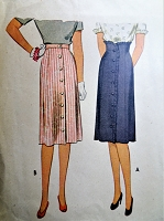 1940s LOVELY Slim Skirt Pattern McCALL 5970 Two Versions Includes Corset Style High Waist, Button Front Ruffle Waist 26 Vintage Sewing Pattern