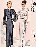 1940s GORGEOUS Evening Gown dinner Dress Pattern McCALL 6621 Stunning Design Draped Surplice Bodice,Side Cascade,2 Sleeve Styles Bust 38 Vintage Sewing Pattern