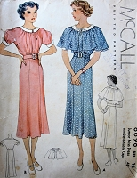1930s LOVELY Dress and Detachable Cape Pattern McCALL 8698 Pretty Dress Day or Party Bust 34 Vintage Sewing Pattern
