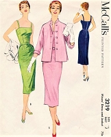 1950s STUNNING Slim Dress and Jacket Pattern McCALLS 3219 Strappy Sundress or Cocktail Party Dress, Loose Jacket Bust 36 Vintage Sewing Pattern