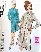 1960s MOD Slim Coat Pattern McCALLS 7623 Panel seaming Lined Coat Bust 31 Vintage Sewing Pattern FACTORY FOLDED