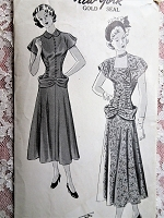 1940s STUNNING Cocktail Party Dress Pattern NEW YORK 520 Louise Scott Designed 2 UNIQUE Dress Styles, Bust 34 Vintage Sewing Pattern FACTORY FOLDED