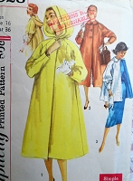 1950s LOVELY Coat Pattern SIMPLICITY 1928 With or Without Hood, 2 Lengths Simple To Make Bust 36 Vintage Sewing Pattern