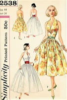 1950s BEAUTIFUL Halter Evening Gown Cocktail Party Dress Pattern SIMPLICITY 2538 Figure Flattering Design Bust 34 Vintage Sewing Pattern