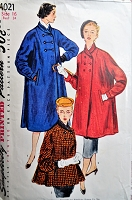 1950s BEAUTIFUL Flare Back Coat Pattern SIMPLICITY 4021 Three Lovely Lengths Bust 34 Vintage Sewing Pattern